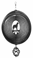 Swen Products Bull Mastiff Dog Circle Black Swirly Combo Metal Wind Spinner
