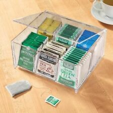Acrylic 84 Tea Bag Storage Clear View Organizer 6 Compartment Box