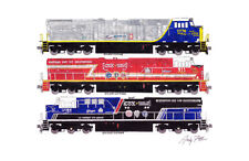"CSX 1776, 911 & 3194 Tribute Locomotives 11""x17"" Poster by Andy Fletcher signed"