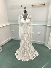 Gold Champagne Ivory Lace Boho Vintage Style Long Sleeves Wedding Dress Size 12