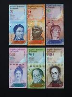 VENEZUELA BANKNOTES  -    COMPLETE SET OF 6 BRILLIANT NOTES    * BEST  UNC *
