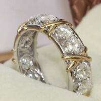 Full Cubic Zirconia CZ Cross White Gold Plated Ring Lady Wedding Jewelry Latest