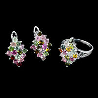 AWESOME NATURAL GEM 3 MM TOP AAA FANCY COLORS TOURMALINE STERLING 925 SILVER SET
