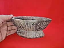 Antique Old Collectible India Hand Carved Wooden Kharal Opium Water Pot Bowl