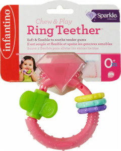 NEW INFANTINO Chew & Play RING TEETHER Sparkle Diamond Theme Baby Soother Toy