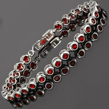Fashion Round Cut Red Ruby Tennis Cubic Zirconia 18K Gold Plated Tennis Bracelet