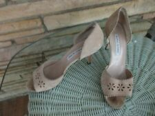 Manolo Blahnik beige suede leather peep toe high heels Shoes sz 39 1/2 sz 9-91/2