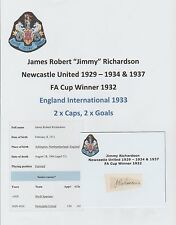 JIMMY RICHARDSON NEWCASTLE UTD 1929-1934 VERY RARE ORIG HAND SIGNED CUTTING/CARD