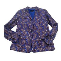 Banana Republic Womens Blazer Jacket Career Linen Blend Collared Size 4 Paisley