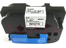 Extra Strength Adhesive Black on White Label Tape Compatible for Brother 24mm