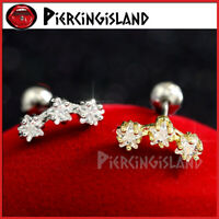 Diamond Stars Ear Climber Cartilage Helix Tragus Stud Ring Bar Piercing Earring