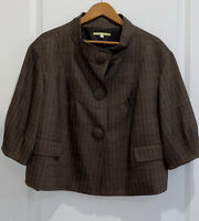 Gianni Bini Wool Blend Brown Herringbone Jacket Size Large