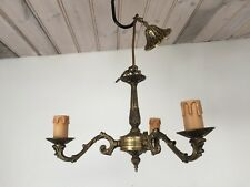 "VINTAGE PRELOVED OLD BRASS 3 LIGHT  CHANDELIER 13"" WIDE x19"" DROP"