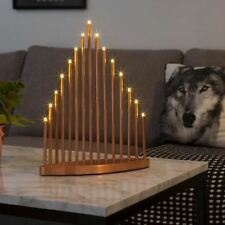 Metal Copper Effect Christmas Window Candlestick (15 LED's)