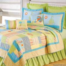 BEACH LIFE Full Queen QUILT SET : HAWAIIAN SHELLS TROPICAL BEACH HOUSE BEDDING