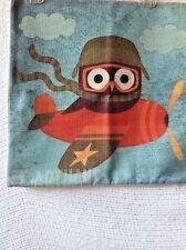"Owl In Airplane Linen Pillow COVER 17"" Home Decor Aviation Avian Flight"