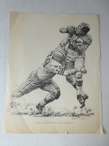 ROBERT RIGER SHELL OIL 1960 NEW YORK GIANTS SKETCH - CHARLEY CONERLY