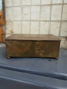 Antique Cigar Box Brass Timber Lined