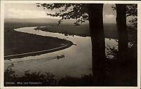 HAMELN Weser alte AK um 1930 Blick v. Felsenkeller Fluss mit kleinem Schiff