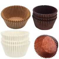100 x Large 8cm Muffin Cases Classic White Brown Baking Cupcakes Grease Proof