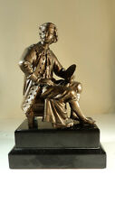 Antique Cold Finished Bronze Metal Statue The Artist on solid Black Marble