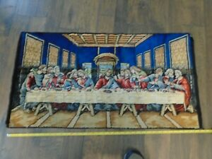 """Vintage Jesus Last Supper Tapestry Wall Hanging Rug Approx. 37"""" by 20"""""""