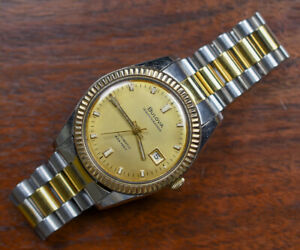 Vintage BULOVA OCEANOGRAPHER 333 10K Gold Bezel Automatic Watch 1969