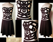 REISS DRESS Black & Cream Embroidered Applique Silk Wool Bl Fitted Strapless 6 8