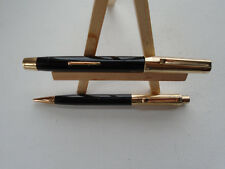 NICE BLACK EVERSHARP 5TH AVENUE LEVER FILL 14K NIB FOUNTAIN PEN/PENCIL SERVICED!