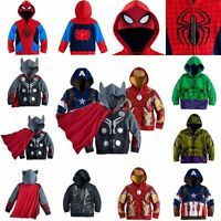 Kids Boys Superhero Cosplay Costume Winter Hooded Jacket Coat Casual Outwear New