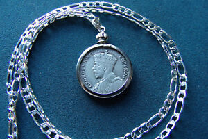"""1933-1936 Random New Zealand Silver Sixpence Coin Pendant on a 26"""" Silver Chain"""