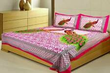Multi Color Double Peacock Printed Pink Cotton Two Pillow Cover Bed Sheet Set