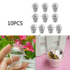 10x Mini Cookie Cups with Dome Lid Dollhouse Frappuccino Cup DIY Supplies