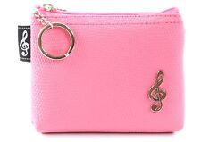 Quality pink textured PVC mini bag money purse with carry chain split keyring