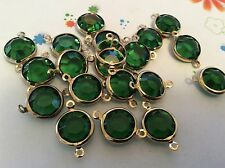 Vintage Channel set rhinestones 2 loop brass Emerald 13mm x4 CRAFT POST FREE