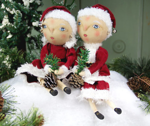 Collectible Joe Spencer Finn Holiday Boy & Folley Girl Christmas Soft Sculptures