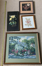 Collection of 4 Framed Embroidery Needlework Picture Cottage & Flowers