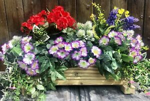 Decking Wooden Planter With Artificial Geranium And Pansies With Foliage