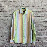 Visconti Large L Orange Green Dot Disco Button Down Shirt