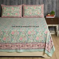 Green Floral Hand Block Printed Fitted Sheet King Size Cotton Bed Sheet Cover