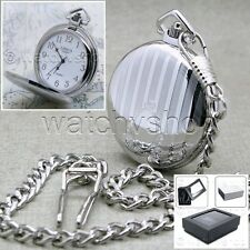 "LIMUS Silver Pocket Watch Men Brass Case White Dial + 14"" Fob Link Chain P94"