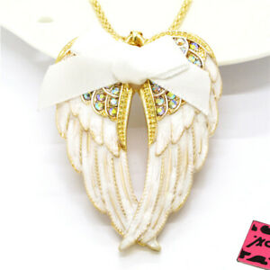 Hot Betsey Johnson White Enamel Cute Bow Wings Crystal Pendant Chain Necklace