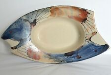 Rainbow Trout Hand Painted Art Pottery Bowl Fish Shape Serving Candy Dish Signed