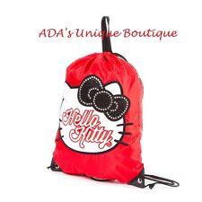 Hello Kitty Drawstring Bag Gym Book Bag Sanrio Glitter & Crystal Backpack New