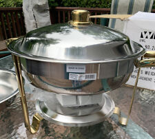 Malibu Chafer 203 - 4 qt Round Stainless Steel W/ Gold Accents Winco, Set of 3