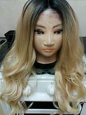 Human Hair Blend, wig Ombré, Blonde, Long,  dark roots