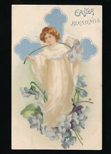 Greetings Easter Blessing child angel used 1908 PPC by Misch & Stock