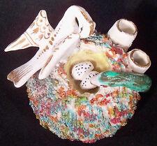 Antique Staffordshire Mossware Bird's Nest Ink Stand