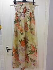 **REDUCED** BEAUTIFUL BEIGE/PINK/GREEN FLORAL LINED MAXI DRESS, SIZE 8 **VGC**