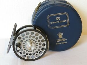 """HARDY 2 1/2"""" FLYWEIGHT  BROOK TROUT REEL TWO SCREW DRUM LATCH AND IN HARDY POUCH"""